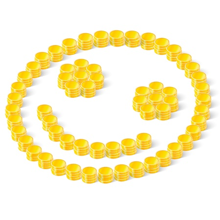 smiley stacks of coins