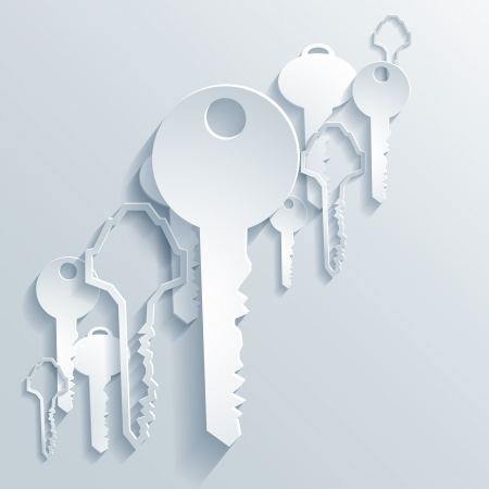 Abstract 3D Paper Graphics of Keys Vector