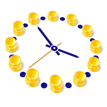 Vector illustration of clock with stack of coins