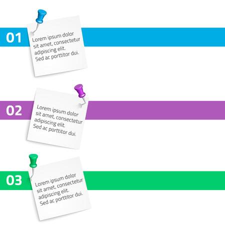 pushpins: Papel elementos infogr�ficos con chinchetas