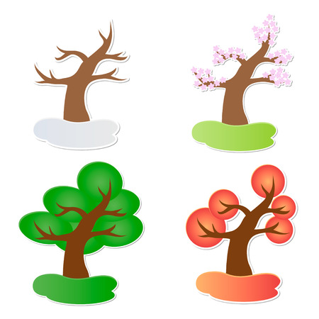 Vector illustration of paper tree in four seasons Illustration