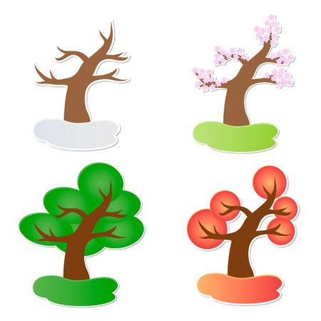 Vector illustration of paper tree in four seasons Illustration