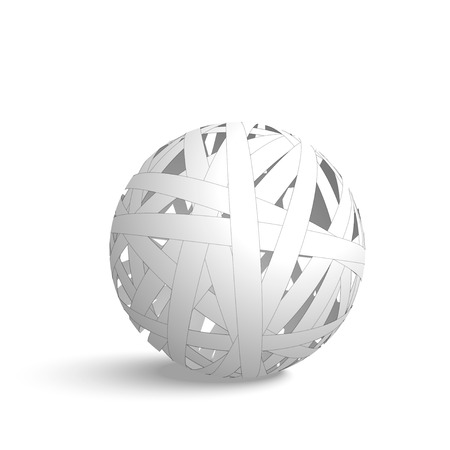 Abstract sphere made from white paper stripes