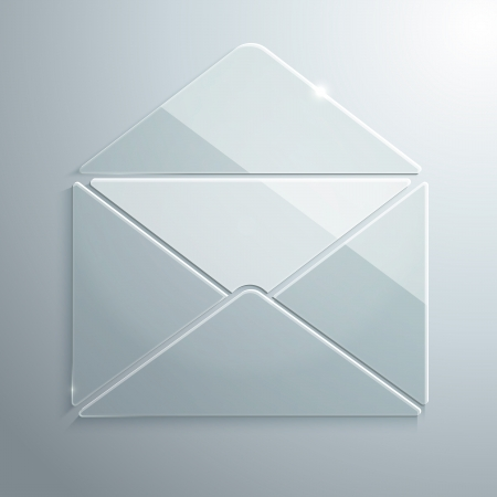 Vector Illustration of Open Envelope made of Glass