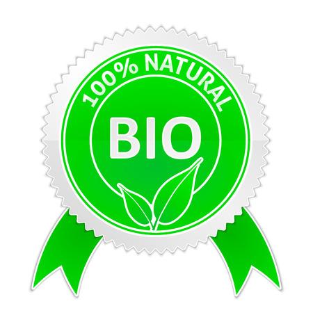 Vector illustration of badge of 100 percents Natural