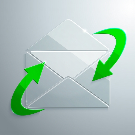 Vector Illustration of Open Envelope with Arrows made of Glass Illustration