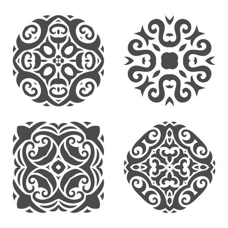 Set of the four mehndi ornament pattern