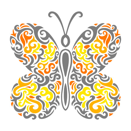 fantasia: Vector illustration of Abstract mehndi tattoo butterfly