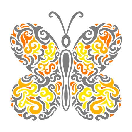 Vector illustration of Abstract mehndi tattoo butterfly