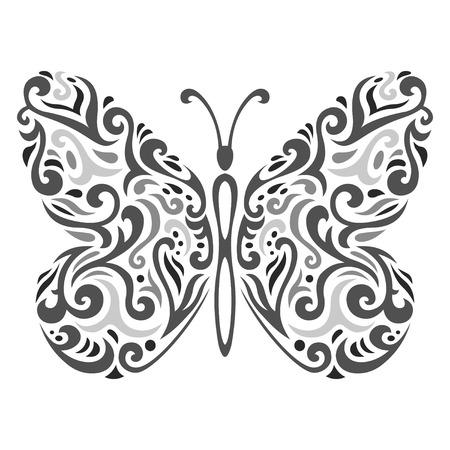 抽象的な一時的な刺青タトゥー蝶のベクトル イラスト