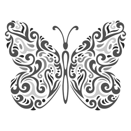 Vector illustration of Abstract mehndi tattoo butterfly Vector