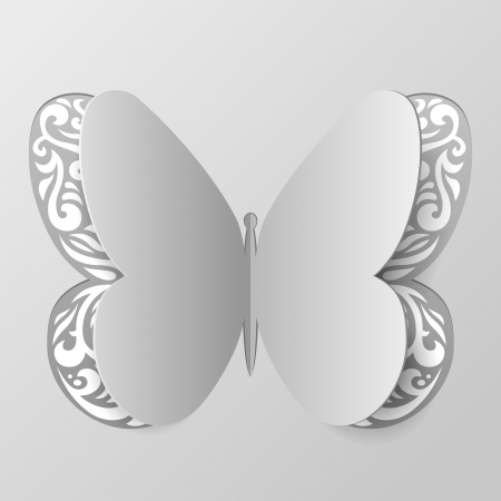 Vector Illustration of Paper Butterfly with Tribal Ornament