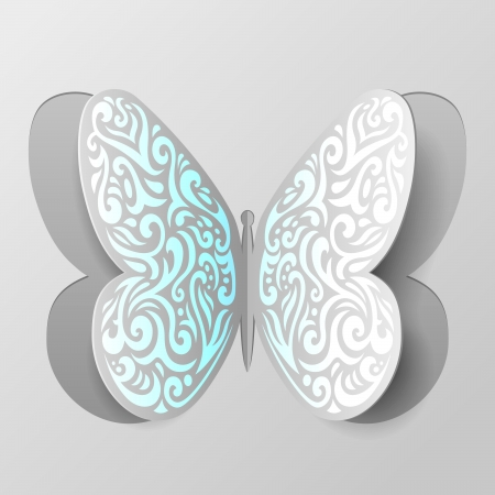 Vector Illustration of Paper Butterfly with Tribal Ornament Vector