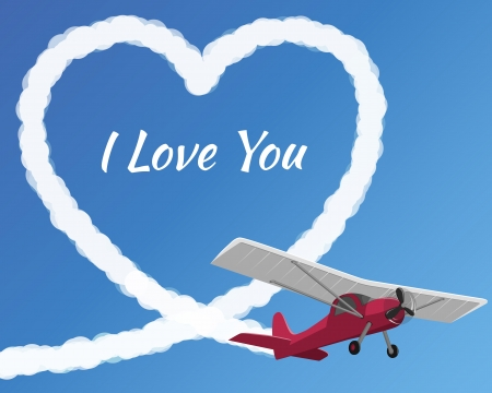 Airplane drawing a cloudy love on the clear sky background