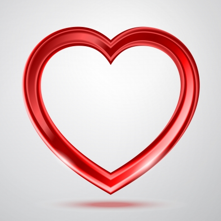 Abstract red glass shiny heart on the gray background.