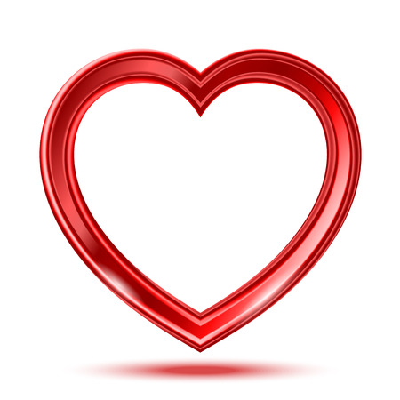 Abstract red glass shiny heart on the white background. Illustration
