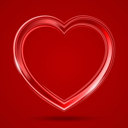 赤い背景の上のガラスの光沢のある心を抽象化します。
