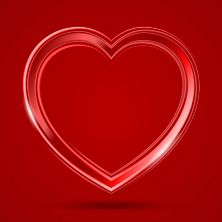 Abstract glass shiny heart on the red background. Illustration