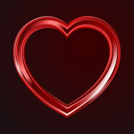 Abstract red glass shiny heart on the dark background.