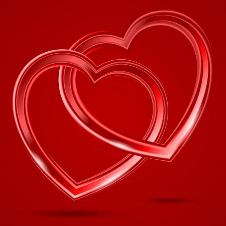 赤い背景の上の 2 つのガラス光沢のある心を抽象化します。