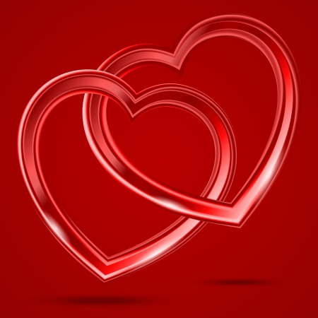 Abstract two glass shiny hearts on the red background. Illustration