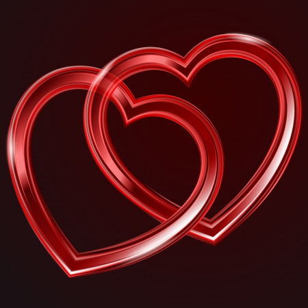 Abstract two red glass shiny hearts on the dark background.