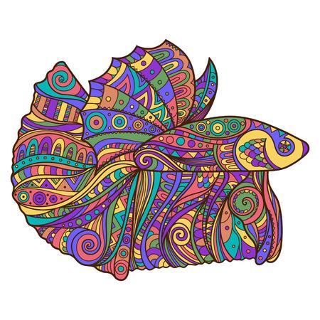 Hand Drawn Illustration of Betta Fish. Clothing print in Boho Style