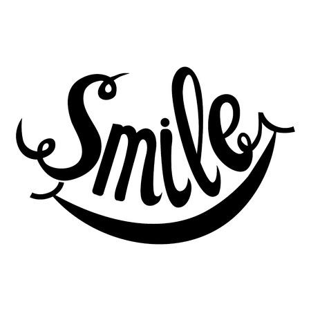 Smile. Hand Drawn Inspiration Phrase. Vector Lettering Ilustração