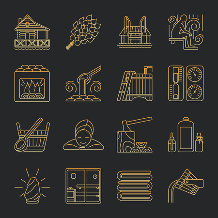 whisk broom: Modern Vector Line Icons with different sauna elements - sauna whisk, heater,bucket waterfall, lakeside jetty and others. Spa relaxation emblem. Sauna accessories symbols.