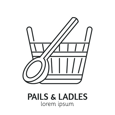 steam bath: Unique Line Style Vector Logotype Template with Pail and Ladle. Clean and minimalist symbol perfect for your business. Sauna relaxation concept.