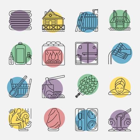 現代ベクトル線アイコン別サウナ要素 - サウナ泡立て器、ヒーター、バケット滝、湖畔の桟橋。スパ リラクゼーション エンブレム。サウナ アクセサリー シンボル。