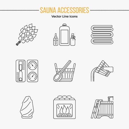異なるサウナ要素 - サウナ泡立て器、ヒーターの編集可能なストローク ベクター ライン アイコンは現代バケツの滝、湖畔の桟橋。スパ リラクゼーション エンブレム。サウナ アクセサリー シンボル。