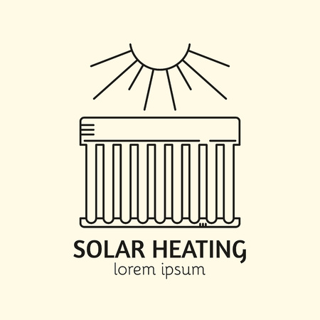 collectors: House Heating Single Logo. Illustration of Solar Collector made in trendy line style vector. Clean and Simple modern emblem for shop product or company. Perfect for your business. Illustration