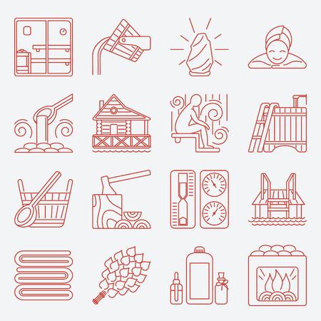 bask: Set of Sauna Line Icon Illustration