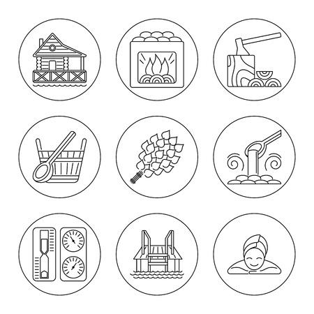 steam bath: Sauna Theme Icon Set Illustration