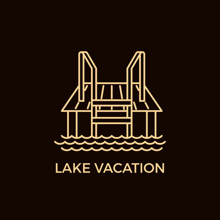 wharf: Modern Line Style Sauna Logotype Template. Illustration