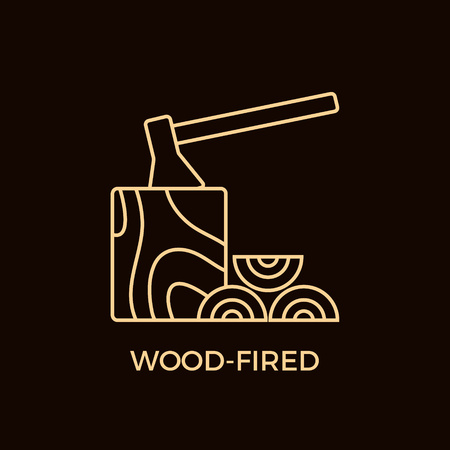 Modern Line Style Wood-Fired Logotype Template.