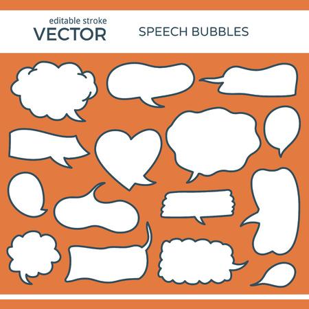 Discurso bosquejado Burbujas con Stroke editable