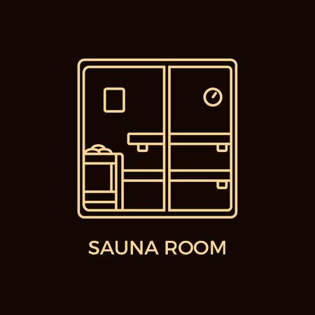 bask: Modern Line Style Sauna Logotype Template. Illustration