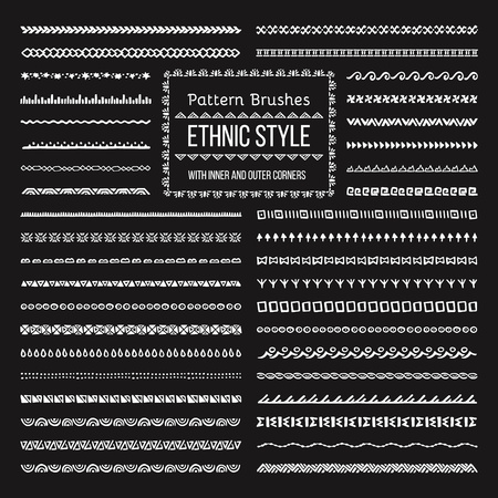 Set of Vector Pattern Brushes with Outer and Inner Corner Tiles. Easy color change. Perfect to create borders, frames, dividers. Hand drawn design elements. Illustration