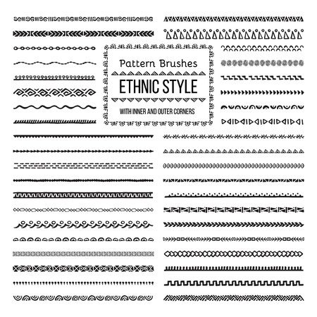 Set of Vector Pattern Brushes with Outer and Inner Corner Tiles. Easy color change. Perfect to create borders, frames, dividers. Hand drawn design elements. Illusztráció
