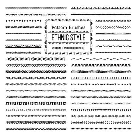Set van Vector Patroonborstels Met Buiten- en Inner Hoektegels. Eenvoudige kleurverandering. Perfect om grenzen, frames, verdelers te creëren. Handgetekende ontwerpelementen. Stock Illustratie