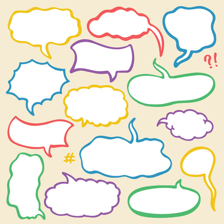 Set of Hand Drawn Comics Style Speech Bubbles Illustration