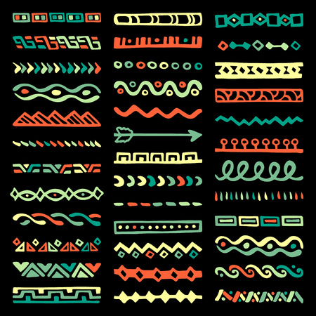 separators: Collection of Hand Drawn Borders in Ethnic Style. Aztec art dividers. Trendy boho separators. Illustration