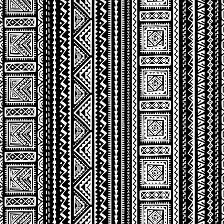 Pattern in ethnic style, hand drawn stripe textile design. Illustration