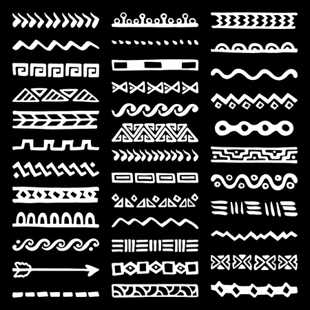 Collection of Hand Drawn Borders in Ethnic Style. Aztec art dividers. Trendy boho separators. Illustration