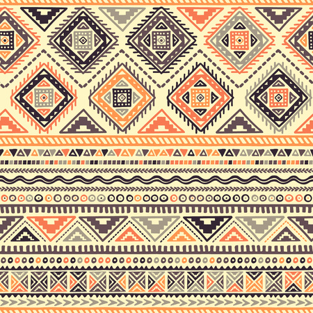 Vector Seamless Pattern in Ethnic style. Hand drawn stripe textile design. Boho fabric print. All elements are cropped - no clipping mask.