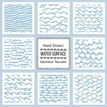 Collection of Hand Drawn Vector Textures of Water Surface. Ready to use seamless pattern included. Perfect for site background fill, scrapbooking paper, advertising banners design.