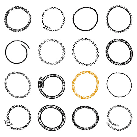 Hand drawn round logo frames set. Collection of Ethnic Stylized Templates for identity design, save the date wedding invitation, stamp or frame. Pattern brushes are included. Illustration