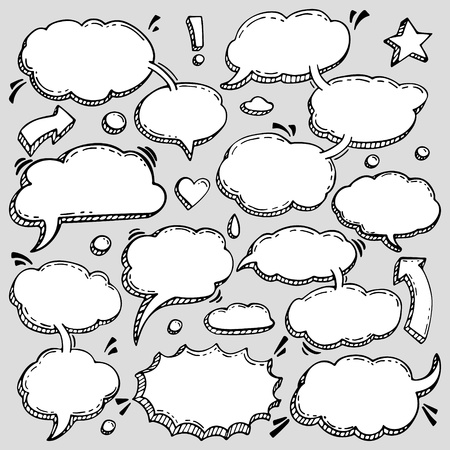 A Few Utterances Vector Speech Bubbles Set. Collection of hand drawn design elements for your blog, social network posts. Easy to make photo collage, advertisement, citation design.